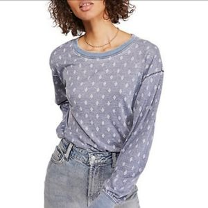 We The Free Arielle Printed Long Sleeve Blue Top